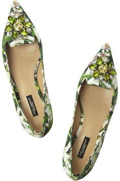 Dolce & Gabbana|Embellished floral-brocade point-toe flats