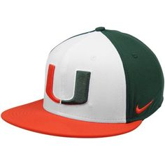 Nike Miami Hurricanes True Adjustable Snapback Hat - White Green Orange Miami  Hurricanes Apparel 38c54da855c
