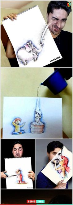 You Are Going To Be Amazed By This Playful Drawing Work - all things creative - Art Amazing Drawings, Cute Drawings, Amazing Art, Awesome, Funny Art, Funny Memes, Hilarious, Arte Disney, Creative Art