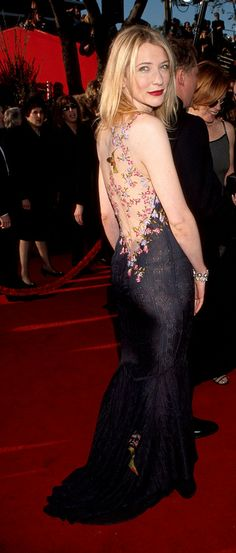 Cate Blanchett wearing the dress by John Galliano. The embroidery on the back of the dress was meant to appear tattoo like.