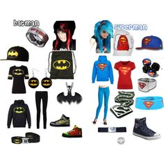 Superman vs. Batman, created by scene-girl-foreva on Polyvore