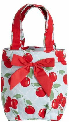 Jessie Steele Kitchen Cherry Lunch Tote Bag with Bow by Jessie Steele. $14.95. Coordinating Apron and accessories sold separately. Reusable and washable. EVA Coated 100-Percent Cotton. Makes a great gift. Blue and Red Cherries Print Lunch Tote with Red Bow. High quality Designer Lunch Tote is not only functional, but fashion forward as well. Reusable and washable, this cherry print lunch tote is made of durable reinforced cotton canvas and is a must have item for all.