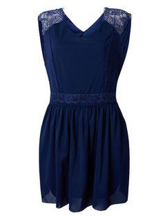 Women V Neck Sleeveless Backless Lace Chiffon Dress