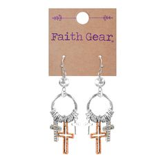 Mixed Crosses Women's Earrings on SonGear.com - Christian Shirts, Jewelry Christian Jewelry, Christian Clothing, Christian Shirts, Cross Earrings, Women's Earrings, Crochet Earrings, Hope Symbol, Women Of Faith, Matching Necklaces