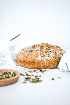 No-knead bread with pumpkinseeds and olive oil.