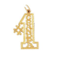 14K GOLD SAYING CHARM - #1 GRANDPA #10041