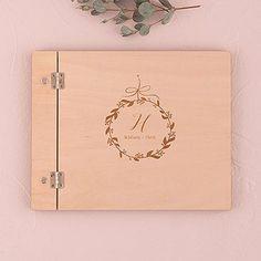 Houten gastenboek Botanic etch - gepersonaliseerd