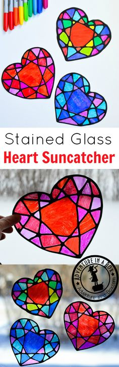 Make a stained glass heart suncatcher with kids and decorate your windows for Valentine's Day! This colourful craft is surprisingly easy with nothing but black glue, sharpie markers and some recyclables. Free printable template is included.