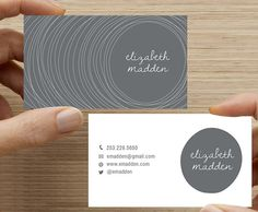 Business Card, Wood Stump Line Design. Custom Colors. Printable Digital Download, Horizontal Double sided. grey. gray business card