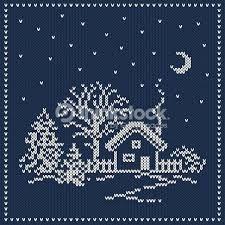 Image result for paesaggio invernale ricamo maglia.