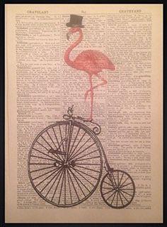 Vintage Pink Flamingo Hochrad-Wandbild Fahrrad Wörterbuch Seite