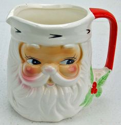 Adorable Vintage Chistmas Sant Claus Pitcher White Beard and All Great for Egg Nog