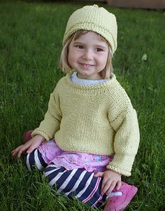 """Sprout Set Free Knitting Pattern  Knit a cute set for kids! This quick knit hat and sweater set features  machine washable Sprout yarn from Classic Elite.  SIZES: Sweater: Child's 2 (4, 6, 8)  Hat: Toddler (Child)  Finished Measurements: Sweater: 24 (26¼, 28½, 30¾)""""  Hat: 18¼ (20½)"""" circumference  You will need:      * 3 (4, 4, 5) hanks Classic Elite Sprout Yarn for Sweater     * 1 hank Classic Elite Sprout Yarn for Hat     * Size US 10 needles     * Size US 10 circular 16"""" needle…"""