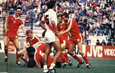Poland 5 Peru 1 in 1982 in La Coruna. Andrzej Buncol gets mobbed after making it 4-0 on 68 minutes in Group 1 at the World Cup Finals.