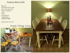 """Simply Vintage Living: Farmhouse Kitchen Table """"Up-Cycling"""""""