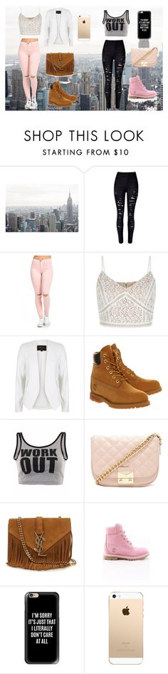 """parque con amigos"" by leidy-vanessa-munoz ❤ liked on Polyvore featuring River Island, Timberland, Forever 21, Yves Saint Laurent and Casetify"