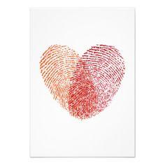 Red fingerprint heart, wedding invitation