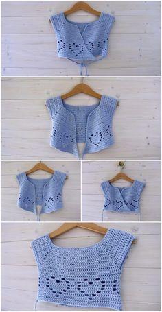 Crochet A Little Heart Ballet Cardigan - Crafting Time - Diy Crafts Crochet Toddler, Baby Girl Crochet, Crochet Baby Clothes, Crochet For Kids, Crochet Yoke, Crochet Cardigan, Easy Crochet, Crochet Designs, Crochet Patterns