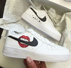 on Cute shoes Custom Painted Shoes, Custom Shoes, Nike Air Force One, Sneakers Fashion, Shoes Sneakers, Baskets Nike, Fresh Shoes, Shoe Art, Custom Sneakers