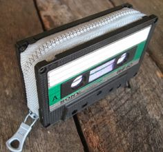 Recycled cassette tape coin purse featured in the new book Art Without Waste by Patty Wongpakdee