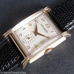 Mens-1940s-Movado-14K-GF-Sterling-Silver-CLAW-Lugs-17j-Vintage-Swiss-Deco-Watch