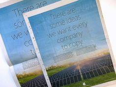 Appleは、4月22日の「Earth Day」(地球の日)に合わせて環境をテーマにしたマーケティングキャンペーンを開始し、さらに同社のリサイクルプログラムも拡大してすべてのApple製品を対象にした。   新聞各紙(英国ではThe Guardianや通勤者向けのフリーペーパーMetroなど)の最終ページに掲載されたAppleの印刷広告の本文は、次のような文章で始まる。「Appleの考えるアイデアを、他の企業にも積極的に取り入れてもらいたい分野があります」 「なぜなら、誰もが環境を優先して考えることは私たちみんなのためになるからです。再生可能エネルギー100%で、すべてのデータセンターが動いたら、どんなに嬉しいことでしょう。私たちは、自分たちが使用することを止めた有害な物質を使わずして、世界中のプロダクトが作られるようになる日を、心待ちにしています」