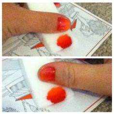 "I just did my own ombre nails. It was so easy!  The top picture I used a white polish as a base, where the bottom picture is just my natural nail color. I preview a white base with this color combination.  Joseph called them ""Girl on Fire"" nails. "