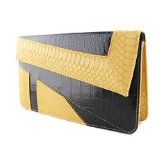 SheIn(sheinside) Yellow Black Crocodile Leather Clutch Bag ($15) ❤ liked on Polyvore featuring bags, handbags, clutches, sheinside, purses, yellow, yellow handbag, yellow leather handbag, leather clutches and yellow leather purse