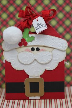 Darling Santa Gift Box...with a pom pom hat...this could also be made into a Christmas card.  Gwen: craftspotbykimberly.