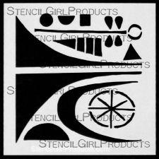 Mid-Century Modern Element #1 4 Stencil M034