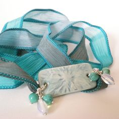 boho ribbon wrap bracelet aqua silk ribbon wrap yoga by jcudesigns