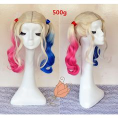 2016 New Arrival Suicide Squad Harley Quinn Cosplay Wig White Blonde... ($26) ❤ liked on Polyvore featuring beauty products, haircare, hair styling tools, hair, bath & beauty, hair care, silver, wigs and curly hair care