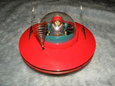 Vtg 50s Japanese Flying Saucer Space Pilot Cragstan Tin Toy w Box RARE