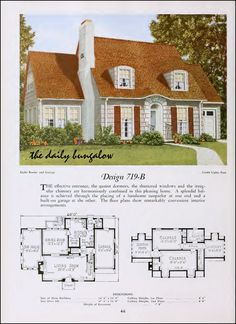 The Daily Bungalow A history of the way we were in images from the period. 1900 to 1960 Images. Vintage House Plans, Modern House Plans, Small House Plans, Vintage Houses, Sims House Plans, House Floor Plans, Home Design Plans, Plan Design, Vintage Architecture