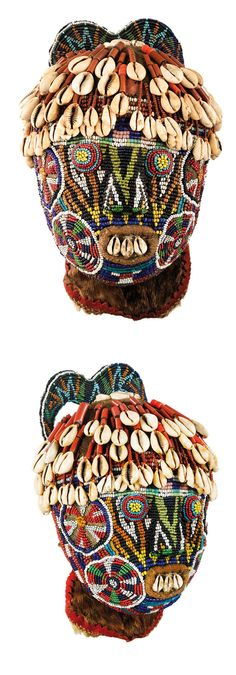 Africa | Beaded head ~ 'atwpmtzem' ~ from the Dschang region, Western Bamileke country, Cameroon | Wood covered in fabric and decorated with glass beads and cowrie shells | ca. late 18th to early 19th century