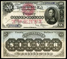 $20 Dollar Silver Certificate Series 1878