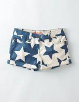 Ecru/Denim Blue Abstract Stars Turn-up Shorts