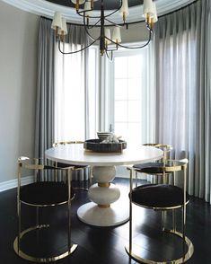 BREAKFAST NOOK x BE.  #favorite #fashion #interiors #lifestyle #design #be #custom #stripes #blackandwhite #gold #whiteoak custom furniture calabasas home decor round dining table round dining chairs
