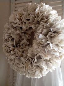 DIY:  How to Make a Paper Wreath - easiest wreath ever, uses a wire coat hanger and old book pages. This is a perfect, neutral wreath base - via Get Cottage