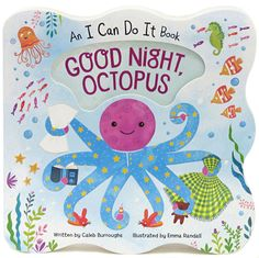 Good Night, Octopusillustrates how a comforting routine makes bedtime a happy time. This shaped board book is perfect for little ones who are exploring their world. Is your child ready to learn good bedtime habits? The light and lively story is encouraging and reassuring. Little Octopus will lend a hand—or eight!Shaped board book with die-cut cover and beautiful embellishments. Full-page illustrations. Five story spreads.