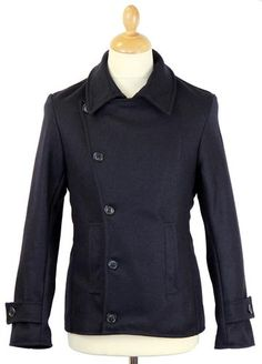 Denny MADCAP ENGLAND 60s Mod Short Reefer Jacket in dark navy. Complete with asymmetrical fastening, button tab detail to cuffs and oversize collar. Available now at Atom Retro: http://www.atomretro.com/product_info.cfm?product_id=13414 #madcapengland #peacoat #dennyjacket