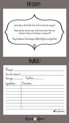 8ba37e5d7268 Recipe card for bridal shower! Cute poem!
