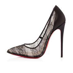 Chaussure Louboutin Pas Cher Pompe Pigalace Dentelle 120mm Noir1 #redbottomshoes
