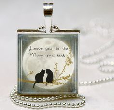 Love You to the Moon CAT Necklace Cat Jewelry by vintagewithflair, $8.95