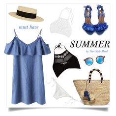 """Summer vibes"" by yourstylemood ❤ liked on Polyvore featuring Eugenia Kim, Mikoh, Kayu, J.Crew, River Island, Ray-Ban, dress, hat, polyvorecontest and totebags"
