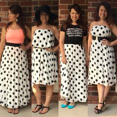 I ❤️ Lucy!  Just call me Ricky...Wowza!  Look at all the options and the polka dots.  Swoon.  #LuLaRoe #Lucy skirt worn four ways!  Follow me  on Instagram @lularoeshelleykathleen  VIP shopping group: www.facebook.com/groups/606459112843042/
