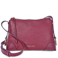 3f38333edb0 US $141.99-Michael Kors Crosby Medium Pebbled Leather Messenger Bag-  Oxblood 30H8GCBM2L-610