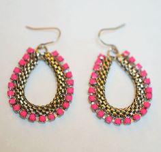 hand painted neon earrings