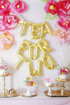 Set of 9 metallic letter balloons spelling out TEA FOR TWO! Shop the whole tea party supplies collection in the EnFete shop. 2 Year Old Birthday Party Girl, Twin Birthday Parties, Girl Birthday Themes, Girl Themes, Tea Party Birthday, Birthday Balloons, Baby Birthday, Birthday Ideas, Gold Balloons
