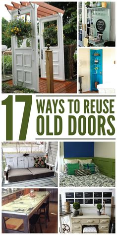 17 Crafty Ways to Reuse Old Doors Have random doors not being used? How about those really cool looking doors at antique store and flea markets? Here are some great DIY tips and ideas for what to do with them! Refurbished Furniture, Repurposed Furniture, Furniture Makeover, Antique Furniture, Diy Furniture, Rustic Furniture, Repurposed Doors, Hardwood Furniture, Modern Furniture